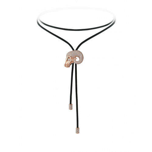 Zodiac Aries String Necklace Rose Gold Diamond