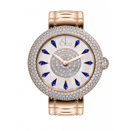 Brilliant Half Pave Rose Gold Couture Blue Sapphires 38mm