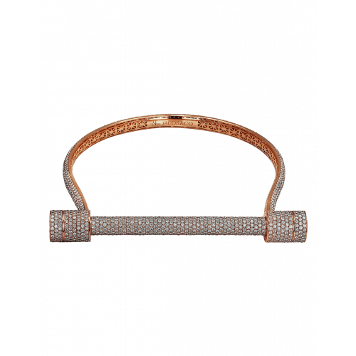Rose Gold Estribo Full Diamond Pave Choker