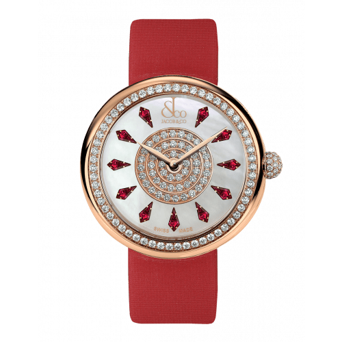 Brilliant One Row Rose Gold Ruby 38mm