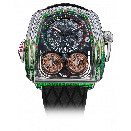 Twin Turbo Furious Baguette White Diamonds & Green Sapphires