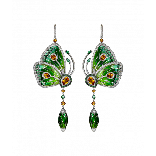 Rain Forest Green Topaz Papillon Small Earrings