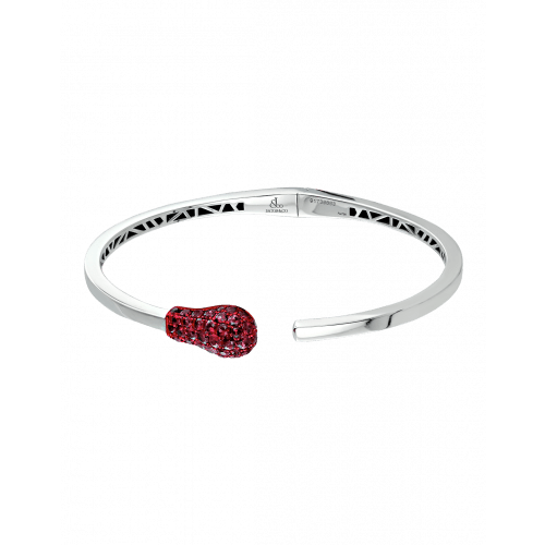White Gold Ruby Match Cuff Bracelet