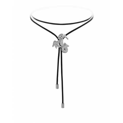 Zodiac Capricorn String Necklace White Gold Diamond