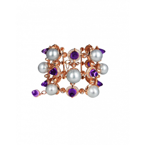 La Pearlina Pearl and Amethyst Bracelet
