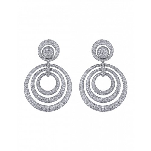 Titanium Glam White Diamond Circular Earrings