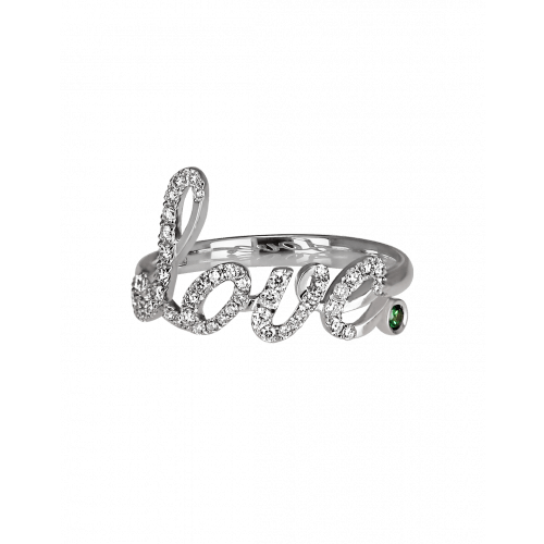 White Gold Pave Love Ring Green Topaz
