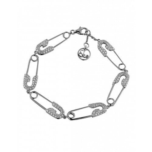 Rose Gold Hexagon Safety Pin Bracelet