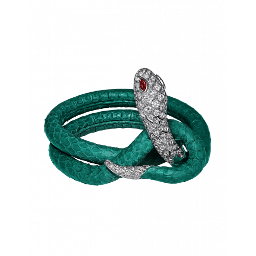 Cerastes White Gold Green Leather Bracelet