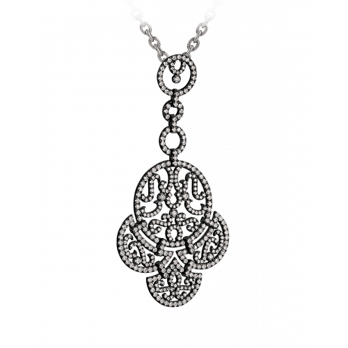 Lace Black Plated Diamond Lace Necklace