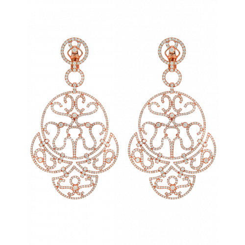 Rose Gold Diamond Lace Chandelier Earrings