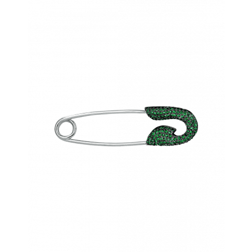 White Gold Tsavorite Safety Pin