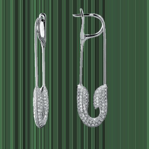 White Gold Diamond Safety Pin Earrings
