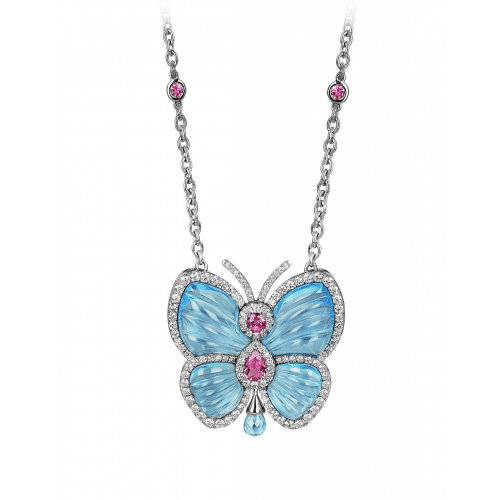 Papillon Necklace with Blue Topaz Large