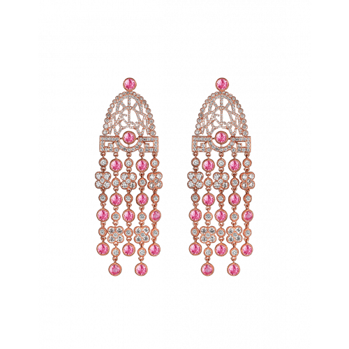 Jezebel Pink Sapphire and White Diamond Earrings Short