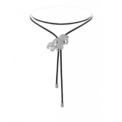 Zodiac Gemini String Necklace White Gold Diamond