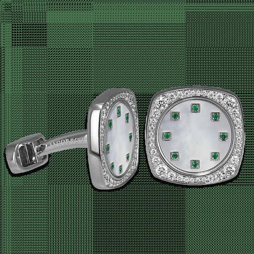 Square Cufflinks Emeralds