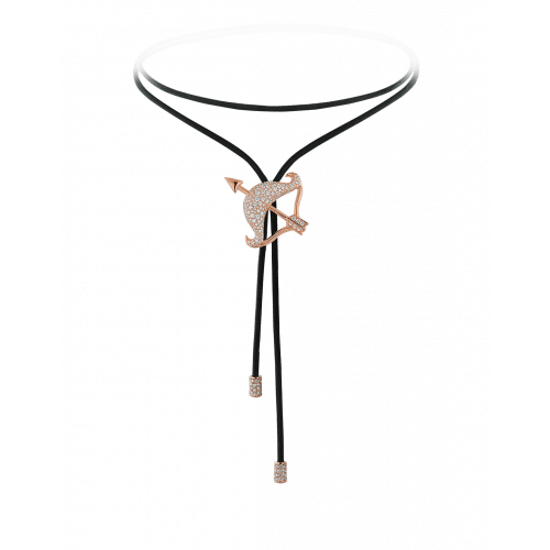 Zodiac Sagittarius String Necklace Rose Gold Diamond