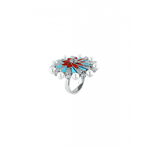 Infinia Pearl, Turquoise and Corals Ring