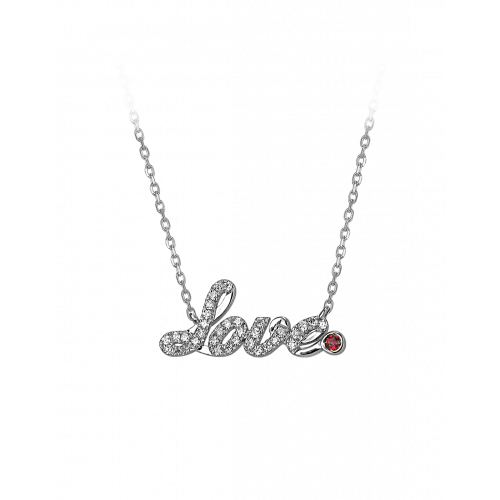 Smaller White Gold Pave Love Necklace