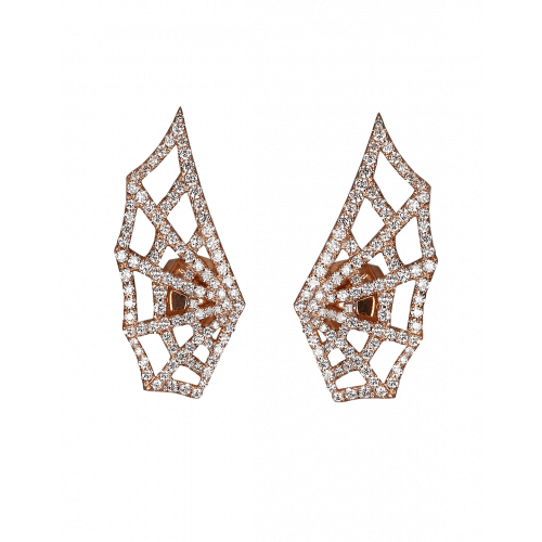 Rose Gold Brilliant Cut Diamond Spider Web Earrings