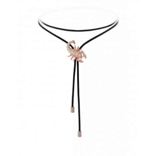 Zodiac Scorpio String Necklace Rose Gold Diamond