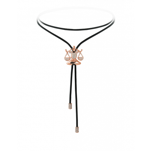 Zodiac Libra String Necklace Rose Gold Diamond