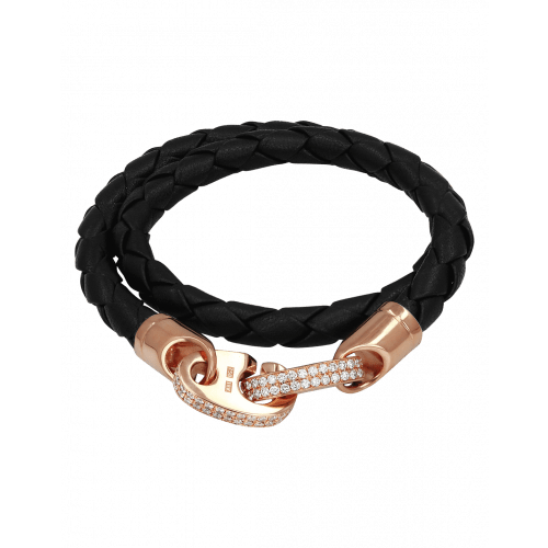 Perfect Fit Bracelet Double Strap Rose Gold with White Diamonds on Black Leather