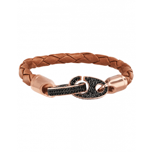 Perfect Fit Bracelet Rose Gold Black Diamonds on Braided Baked Brown Leather