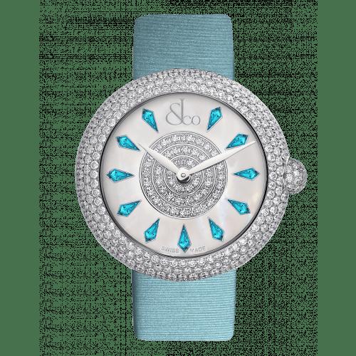 Brilliant Half Pave Icy Blue Sapphires 44mm