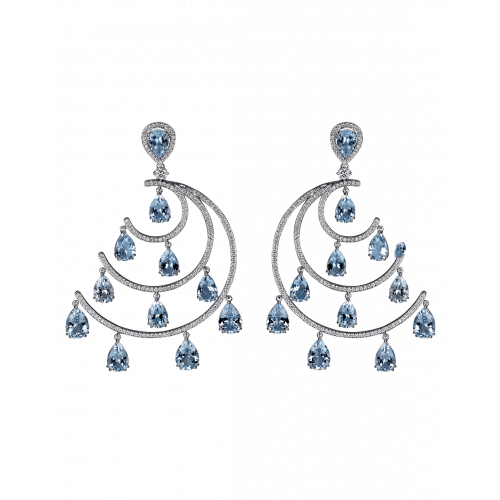 Crescent Moon White Gold Aquamarine Chandelier Earrings
