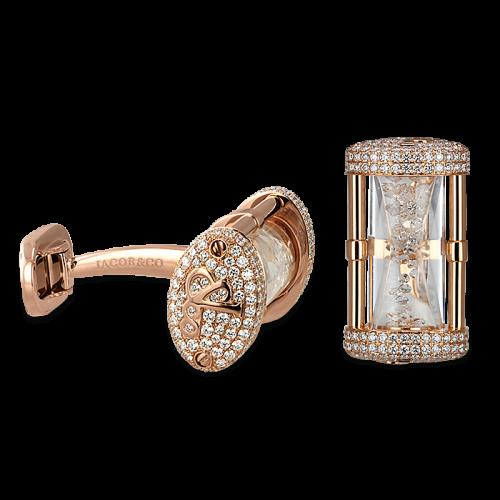 Rose Gold Pave Set Hour Glass Cufflinks