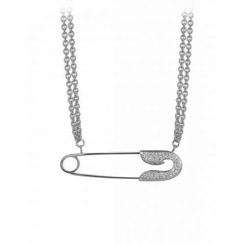 Large White Gold Diamond Single Safety Pin Necklace