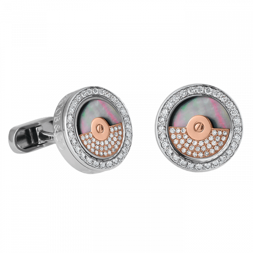 Stainless Steel Rotor Cufflinks with Black Center