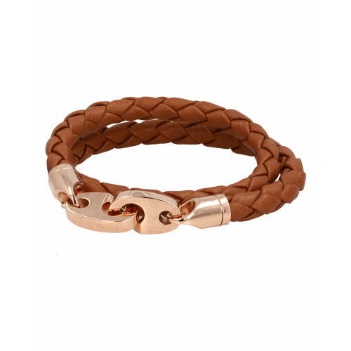 Perfect Fit Bracelet Double Strap Rose Gold Baked Brown Brummel Leather