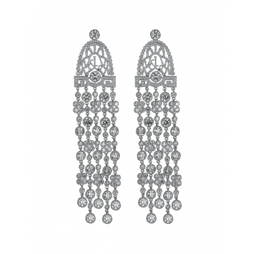 Jezebel Palladium White Diamond Earrings Long