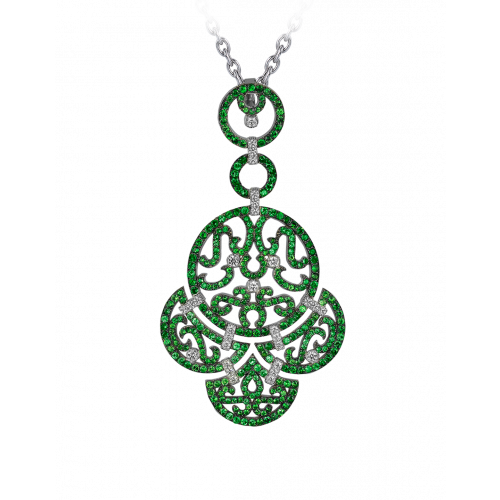 Lace White Gold Emerald Lace Pendant