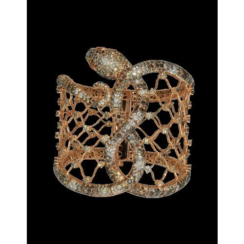 Cerastes Rose Gold Cuff Bracelet with Cognac Diamonds