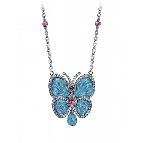 Papillon Necklace with Blue Topaz Small