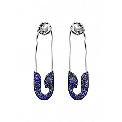 White Gold Sapphire Safety Pin Earrings