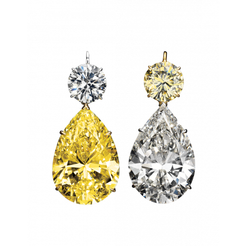 Magnificent Yellow and White Diamond Drop Earrings