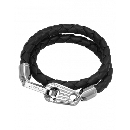 Perfect Fit Bracelet Double Strap White Gold with White Diamonds on Braided Black Leather