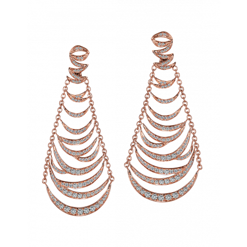 Jacob's Plume Earrings Rose Gold 246 Brilliant Cut Diamonds