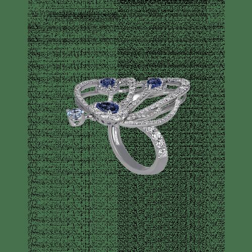 Blue Sapphire Papillon Ring