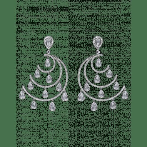 Crescent Moon White Topaz Chandelier Earrings
