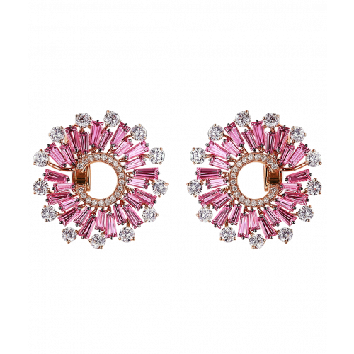 Baguette Cut Pink Sapphires Earrings (Small)
