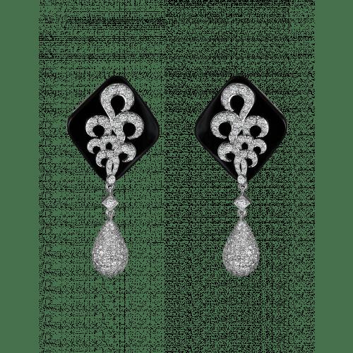 White Gold Black Onyx Earrings 2