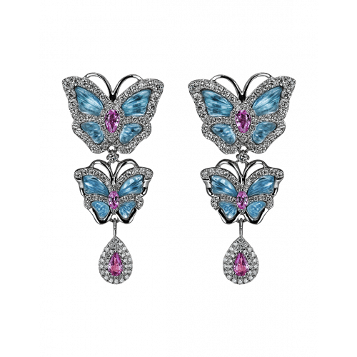 Small Butterfly Papillon Drop Earrings