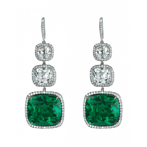 Cushion Cut Emerald Drop Earrings