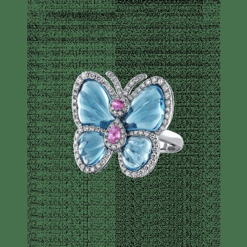 Blue Topaz Papillon Ring